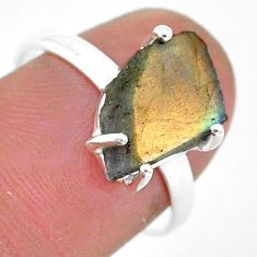 5.13cts natural blue labradorite slice 925 silver solitaire ring size 8 r95487