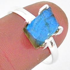 5.85cts natural blue labradorite slice 925 silver solitaire ring size 8 r95493