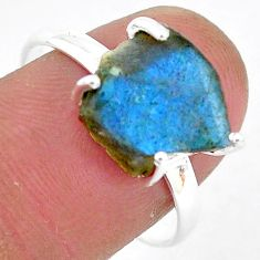 6.62cts natural blue labradorite slice 925 silver solitaire ring size 9 r95481