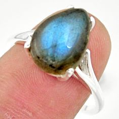 5.45cts natural blue labradorite sterling silver solitaire ring size 8 r35893