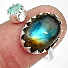 7.50cts natural blue labradorite topaz 925 silver adjustable ring size 7 r33367