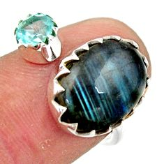 6.22cts natural blue labradorite topaz 925 silver adjustable ring size 7 r45033