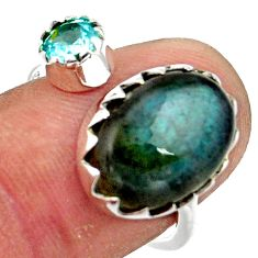 6.53cts natural blue labradorite topaz 925 silver adjustable ring size 8 r45031