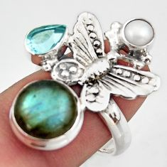 7.23cts natural blue labradorite topaz 925 silver butterfly ring size 7.5 d46120