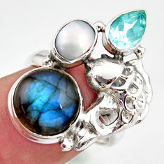 8.42cts natural blue labradorite topaz 925 silver fish ring size 6.5 d46100