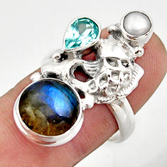 7.99cts natural blue labradorite topaz 925 silver fish ring size 7 d46140