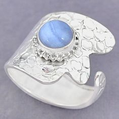 3.21cts natural blue lace agate 925 silver adjustable ring size 8 r90600