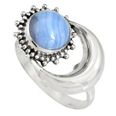 3.05cts natural blue lace agate 925 silver half moon ring jewelry size 7 r19543