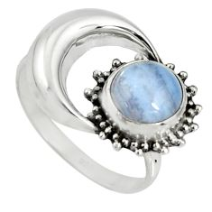 3.29cts natural blue lace agate 925 silver half moon ring jewelry size 8 r19549