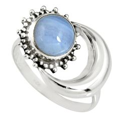 3.29cts natural blue lace agate 925 silver half moon ring size 7.5 r19545