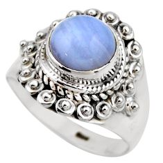 3.01cts natural blue lace agate 925 silver solitaire ring jewelry size 6 r53473