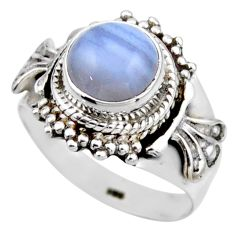 3.19cts natural blue lace agate 925 silver solitaire ring jewelry size 6 r53474