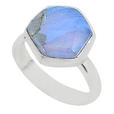 6.04cts natural blue lace agate 925 silver solitaire ring jewelry size 6 r96871
