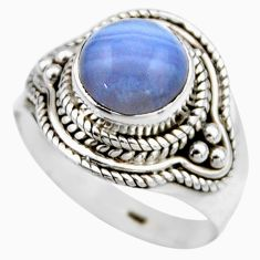 3.32cts natural blue lace agate 925 silver solitaire ring jewelry size 7 r53479