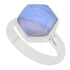 6.04cts natural blue lace agate 925 silver solitaire ring jewelry size 7 r96866