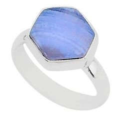 6.04cts natural blue lace agate 925 silver solitaire ring jewelry size 7 r96870