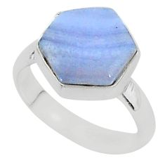 5.84cts natural blue lace agate 925 silver solitaire ring jewelry size 7 r96875