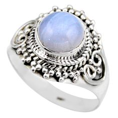 3.62cts natural blue lace agate 925 silver solitaire ring jewelry size 8 r53471