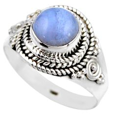 3.48cts natural blue lace agate 925 silver solitaire ring jewelry size 8 r53478