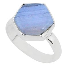 6.39cts natural blue lace agate 925 silver solitaire ring jewelry size 8 r96872