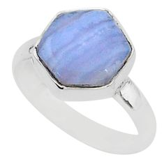 6.72cts natural blue lace agate 925 silver solitaire ring jewelry size 9 r96861