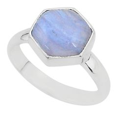 6.39cts natural blue lace agate 925 silver solitaire ring jewelry size 9 r96868