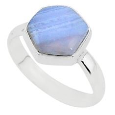 6.40cts natural blue lace agate 925 silver solitaire ring jewelry size 9 r96873