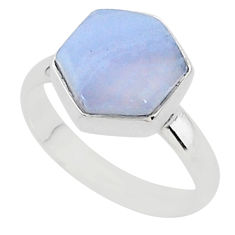 6.70cts natural blue lace agate 925 silver solitaire ring jewelry size 9 r96877