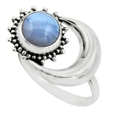 3.51cts natural blue lace agate 925 silver solitaire ring size 7.5 r26606