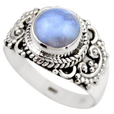 3.62cts natural blue lace agate 925 silver solitaire ring size 7.5 r53475