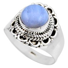 3.12cts natural blue lace agate 925 silver solitaire ring size 6.5 r53477