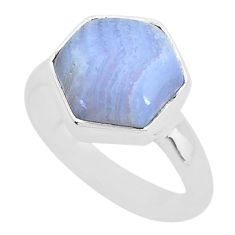 4.97cts natural blue lace agate 925 sterling silver ring jewelry size 7 t4119