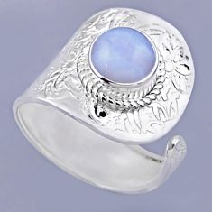 3.25cts natural blue lace agate round 925 silver adjustable ring size 9 r54920