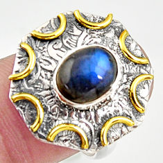 3.16cts natural blue lace agate silver 14k gold solitaire ring size 8.5 r37274