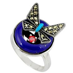 Natural blue lapis 925 sterling silver butterfly ring jewelry size 7.5 c16099