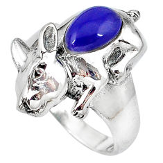 Natural blue lapis enamel 925 sterling silver ring jewelry size 7.5 c12052