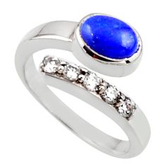 3.75cts natural blue lapis lazuli 925 silver adjustable ring size 8.5 r54573