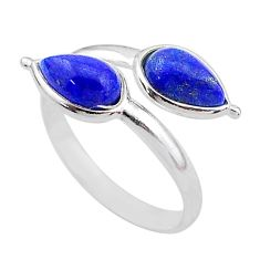 3.64cts natural blue lapis lazuli 925 silver adjustable ring size 7 t1664