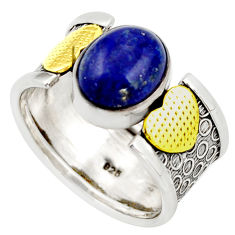 4.55cts natural blue lapis lazuli 925 silver gold solitaire ring size 7.5 d46330