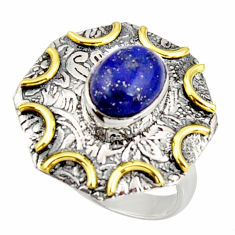 3.01cts natural blue lapis lazuli 925 silver gold solitaire ring size 6.5 r37270
