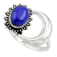 3.32cts natural blue lapis lazuli 925 silver half moon ring size 7.5 r41769