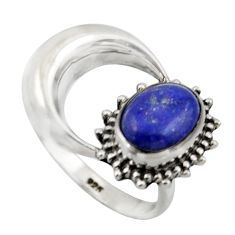 3.30cts natural blue lapis lazuli 925 silver half moon ring size 7 r41770