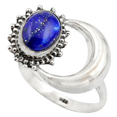 3.32cts natural blue lapis lazuli 925 silver half moon ring size 8 r41768