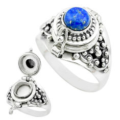 1.21cts natural blue lapis lazuli 925 silver poison box ring size 8.5 t52778