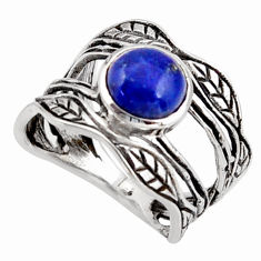 2.68cts natural blue lapis lazuli 925 silver solitaire leaf ring size 7.5 r36979