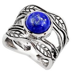 2.92cts natural blue lapis lazuli 925 silver solitaire leaf ring size 5 r36978