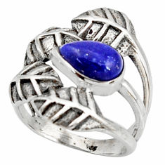 2.63cts natural blue lapis lazuli 925 silver solitaire leaf ring size 6 r37046