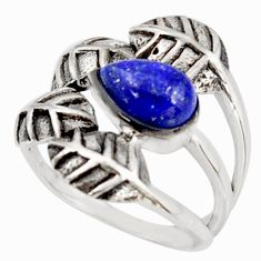 2.34cts natural blue lapis lazuli 925 silver solitaire leaf ring size 7 r37047