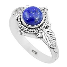 2.52cts natural blue lapis lazuli 925 silver solitaire ring jewelry size 9 t4027