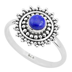 0.72cts natural blue lapis lazuli 925 silver solitaire ring jewelry size 9 t4033